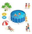 Isometric Portable plastic swimming pool and vector image