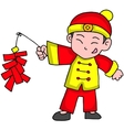Character of boy with firecracker vector image