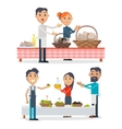 Table with Oil and Olives in Baskets Tasty Bakery vector image