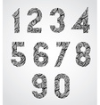Old style numbers with hand drawn curly lines vector image