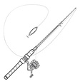 outline spinning fishing rod vector image
