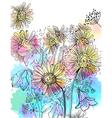 flowers watercolor bouquet vector image