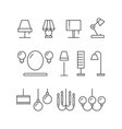 lighting icons collection - lamps floor lamps vector image