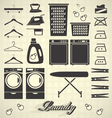 Retro Laundry Room Labels and Icons vector image