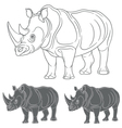 Set of images with a rhinoceros vector image