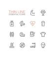 Sport Training - Thin Single Line Icons Set vector image