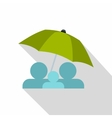 Family under green umbrella icon flat style vector image
