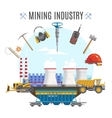 Mining Industry Round Composition vector image vector image