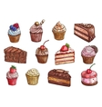 Desserts and sweet cakes sketch icons vector image