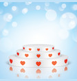 white romantic scene with red hearts vector image