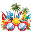 beach concept with red sunglasses vector image vector image