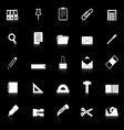 Stationary icons with reflect on black background vector image vector image
