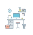 Workspace with computer interior vector image