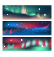 aurora banners set vector image