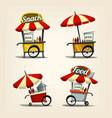 isolated cartoon street food cart fast food snack vector image