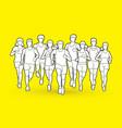 marathon runners men and women running vector image