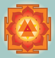 Sacred Geometry orange Durga yantra vector image