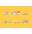 Colorful Car Thin Line Icons Set vector image