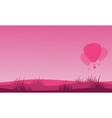 Landscape of valentine day with air balloon vector image