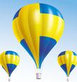 Hot balloons painted as swedish flag vector image