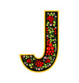 Letter j in the russian style the style of vector image