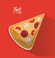 poster fast food in red background with pizza vector image