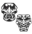set of samurai masks design elements for logo vector image