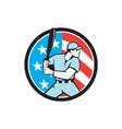 American Baseball Batter Hitter USA Flag Circle vector image