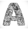 Doodles font from ornamental flowers - letter A vector image