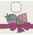 Frame with a bow and muffins vector image