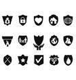 black shield protect icons set vector image
