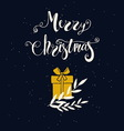 Merry Christmas greeting card with box of gift and vector image