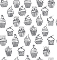 monpchrome seamless pattern with cupcakes cute bac vector image