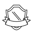 shield with ribbon emblem outline empty vector image