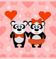 valentines day seamless background with pandas vector image