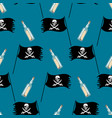 seamless pattern with pirate flag and bottle vector image