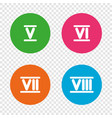 roman numeral icons number five six seven vector image