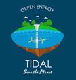 tidal turbines power plant and factory green aqua vector image