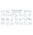 farm animal thin line collection 25 icon set flat vector image