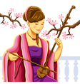 beautiful chinese erhu player vector image