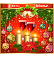 Christmas background with balls and glasses of win vector image