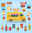 food truck with big set summer meal fast food vector image