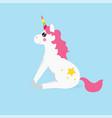 white cute magic unicorns character vector image