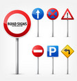 road signs collection isolated on white background vector image vector image