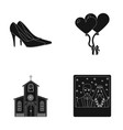 elegant wedding shoes with heels balloons for the vector image
