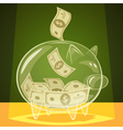Glass piggy bank vector image