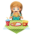 A cute girl eating vector image