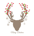 Retro reindeer and Red Berry for Christmas card vector image