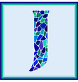 J - letter - Green Watercolor mosaic vector image
