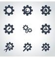 black tools in gear icon set vector image